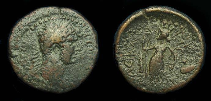 Ancient Coins - Hadrian.  Ae 24.  Judaea.  Ascalon.  122-123 AD.