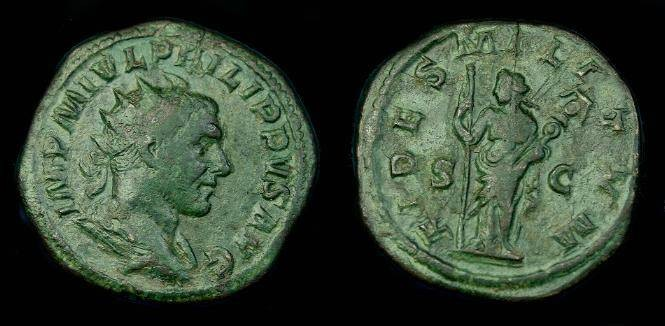 Ancient Coins - Philip I.  Ae as.  244-245 AD.  Scarce.