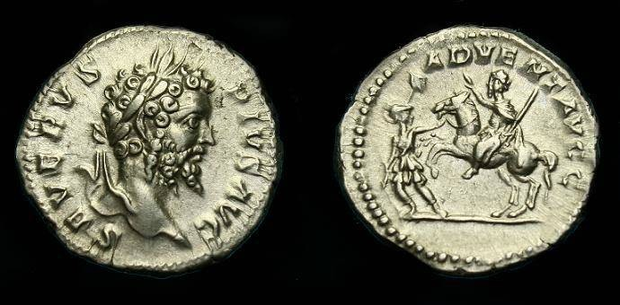 Ancient Coins - Septimius Severus.  Ar denarius.  202 AD.  Nice detail and scarce type.