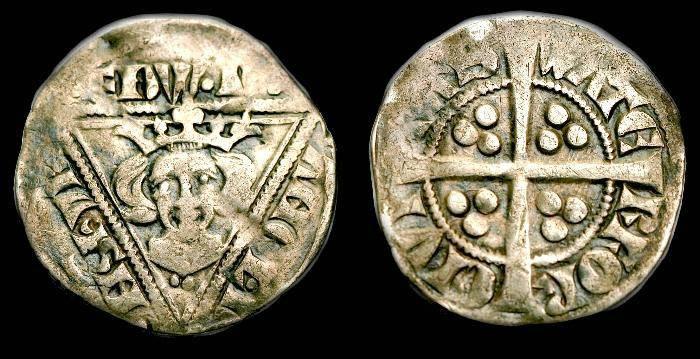 Ancient Coins - Irish.  Edward I.  Ar penny.  C. 1279-1302.