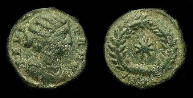 Ancient Coins - Fausta.  Ae 3.  324-326 AD.  Rare star in wreath reverse.