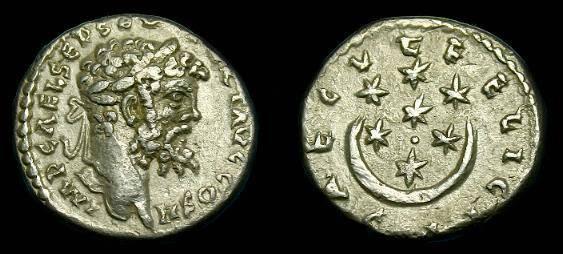 Ancient Coins - Septimius Severus.  Ar denarius.  193-211 AD.  Interesting type.