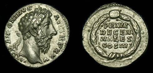 Ancient Coins - Marcus Aurelius.  Ar denarius.  161-180 AD.  Better type.