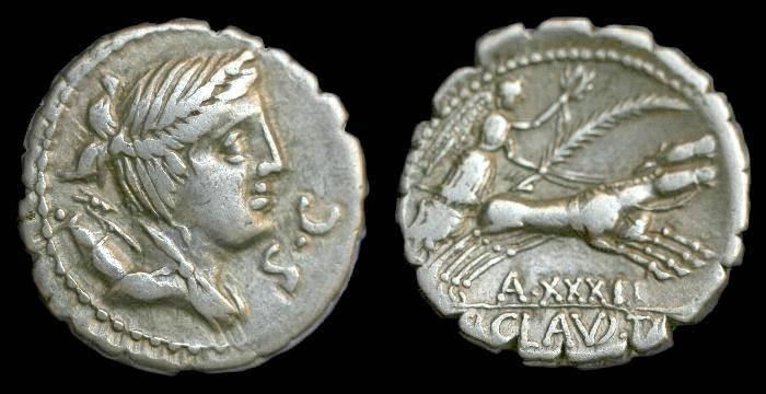 Ancient Coins - Ti Claudius Ti f Apn Nero.  Ar denarius.  C. 79 BC.