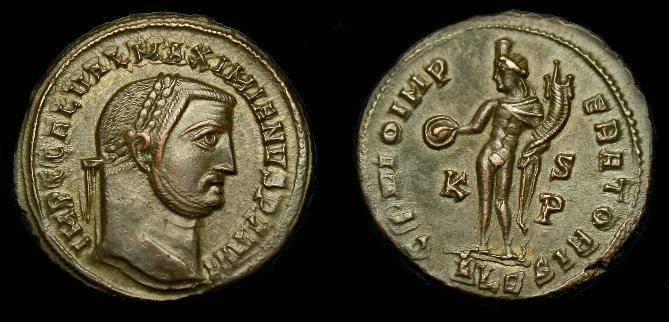 Ancient Coins - Galerius.  Ae follis.  305-311 AD. Good detail.