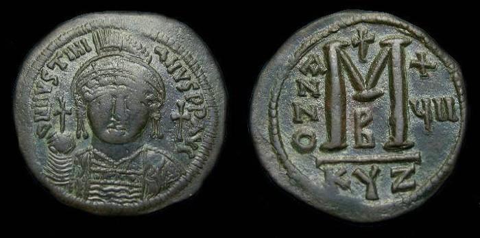 Ancient Coins - Justinian I.  Ae follis.  527-565 AD.  Large module.