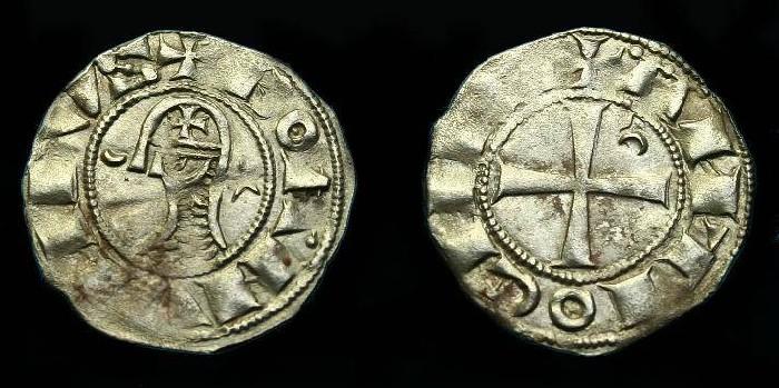 Ancient Coins - Bohemund III. Ar denier. 1149-1201 AD. Crusader coin.