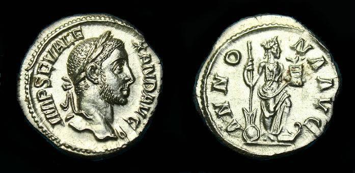 Ancient Coins - Severus Alexander.  Ar denarius.  226 AD.  Nice coin.