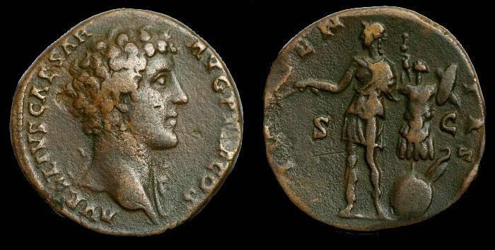 Ancient Coins - Marcus Aurelius.  Ae sesterius.  C. 144 AD.