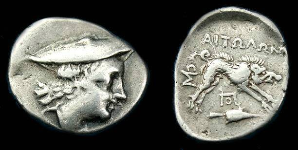 Ancient Coins - Aetolian league.  Ar quarter stater.  195-188 BC.  Good silver and scarce.