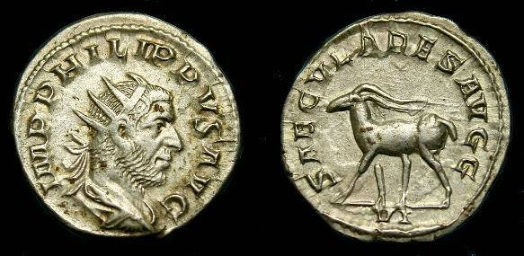 Ancient Coins - Philip I.  Ar ant.  244-249 AD.  uper detail.