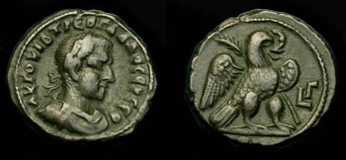 Ancient Coins - Trebonianus Gallus.  Ae tetradrachm.  Alexandrian.  251-252 AD.  Good quality and scarce.