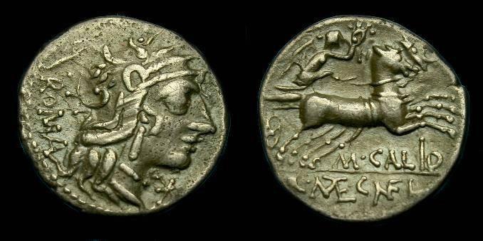 Ancient Coins - M Calidus, Q Capcillius Metellus and Cn Fulvius.  Ar denarius.  117-116 BC.