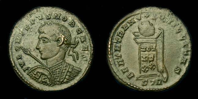 Ancient Coins - Crispus.  Ae 3.  316-326 AD.  Very rare type.  Romulus and Remus on shield.