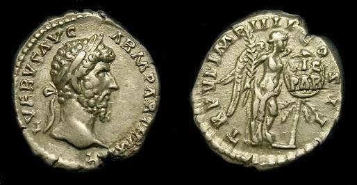 Ancient Coins - Lucius Verus.  Ar denarius.  161-169 AD.  Scarcer type.