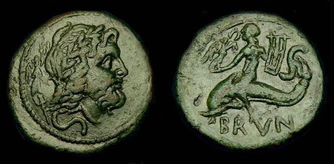 Ancient Coins - Calabria.  Brundisium.  Ae semis.  220-200 BC.  Nice style.