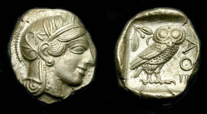 Ancient Coins - Attica.  Athens.  Ar tetradrachm.   449-413 BC.  Super detail and metal.