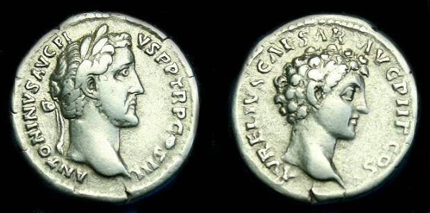 Ancient Coins - Antoninus Pius and Marcus Aurelius.  Ar denarius.  141 AD.  Good metal.