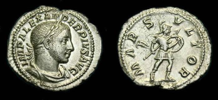 Ancient Coins - Severus Alexander.  Ar denarius.  222-235 AD.  Good metal and detail.