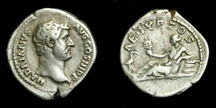 Ancient Coins - Hadrian.  Ar denarius.  117-138 AD.  AEGYPTOS.