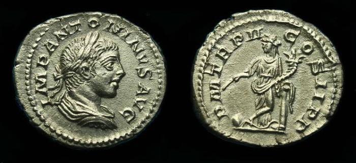 Ancient Coins - Elagabalus.  Ar denarius.  219 AD.  Super detail.