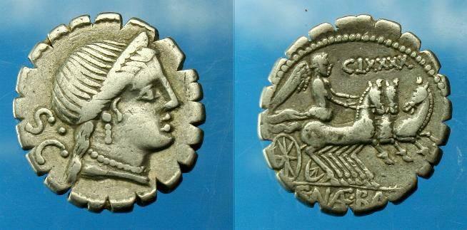 Ancient Coins - C Naevius Balbus.  Ar denarius.  C. 79 BC.