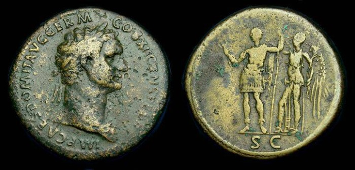 Ancient Coins - Domitian.  Ae sestertius.  81-96 AD.  Scarce type.