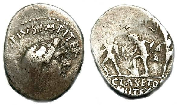 Ancient Coins - RARE SEXTUS POMPEY  AR DENARIUS