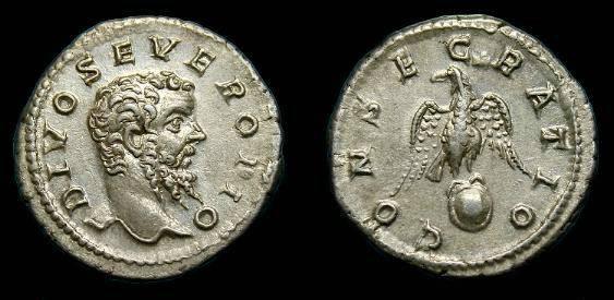 Ancient Coins - Divus Septimius Severus.  Ar denarius.  193-217 AD.  Nice coin.