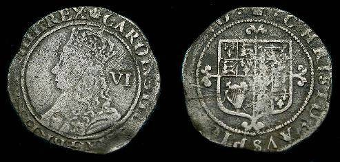 Ancient Coins - Charles II.  Ar sixpence.  1660-1685.  Scarce.
