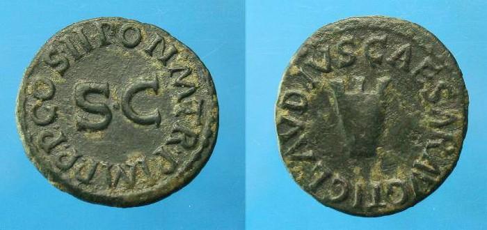 Ancient Coins - Claudius.  Ae quadrans.  C. 41-54 AD.