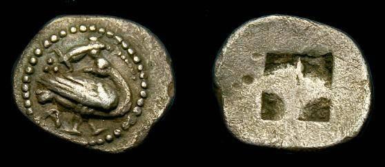 Ancient Coins - Macedonia,  Eion.  Ar trihemiobol.  500-480 BC.  Scarce coin.