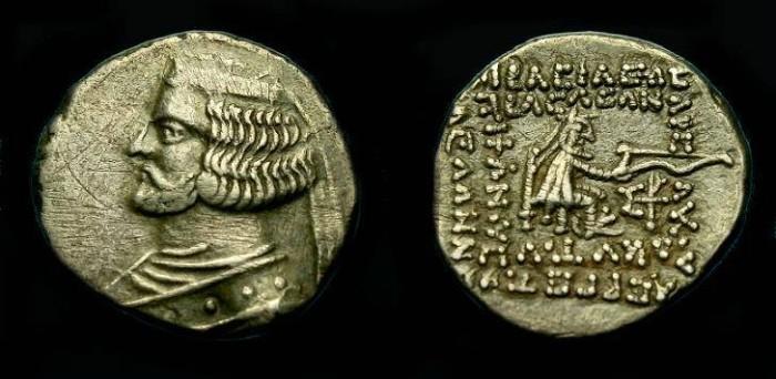 Ancient Coins - Parthian.  Orodes II.  Ar drachm.  57-38 BC.  Good detail.