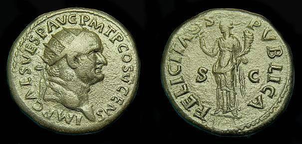 Ancient Coins - Vespasian.  Ae dupondius.  C. 74 AD.   Nice detail.