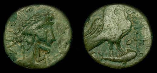 Ancient Coins - Olbia.  Sarmatia.  Ae22.  2nd century AD.  Countermarked.