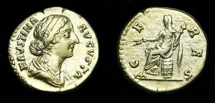 Ancient Coins - Faustina Jnr.  Ar denarius.  161-175 AD.  Gold tone.