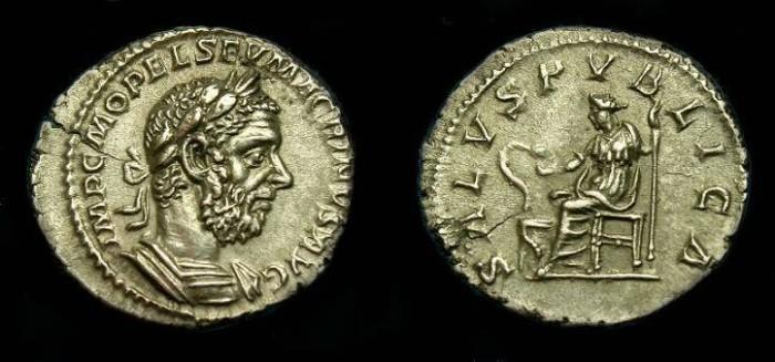 Ancient Coins - Macrinus.  Ar denarius.  217 AD.  Superb portrait.