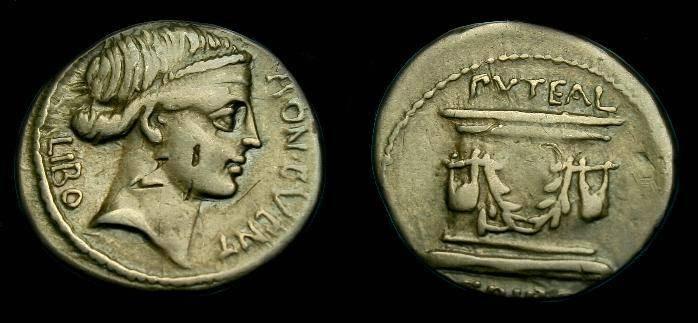 Ancient Coins - L Scribonius Libo.  Ar denarius.  62 BC.