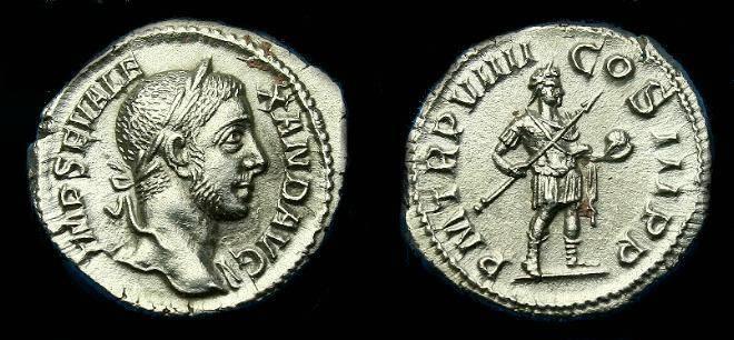 Ancient Coins - Seveus Alexander.  Ar denarius.  230 AD.  Super coin.