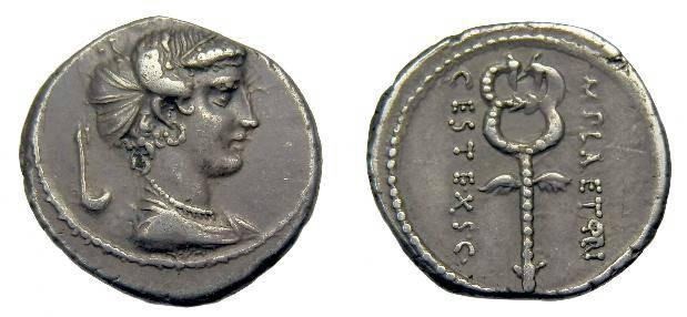 Ancient Coins - M Plaetorius M f Cestianus.  Ar denarius.  C. 69 BC.  Old collection coin