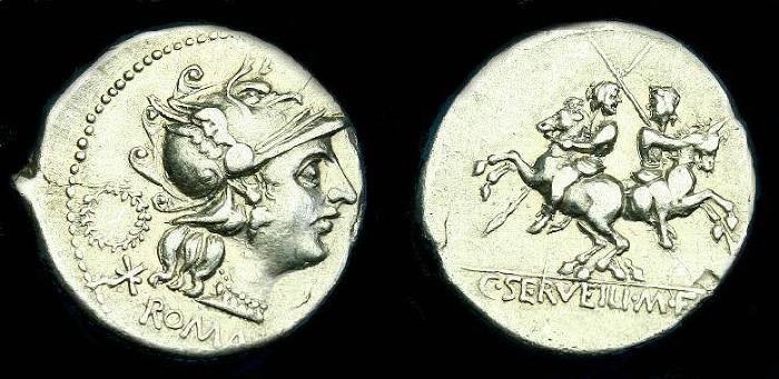 Ancient Coins - C Servilius M.f.  Ar denarius.  136 BC.  Nice coin.