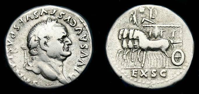 Ancient Coins - Divvs Vespasian.  Ar denarius.  80 AD.    Rare type.