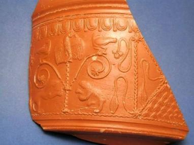 Ancient Coins - Roman terra sigalata Ornate sherd (Samian Ware)