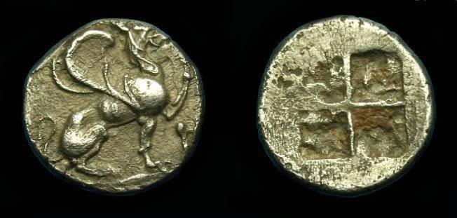 Ancient Coins - Ionia.  Teos.  Ar trihemiobol.  475-450 BC.  Scarce.