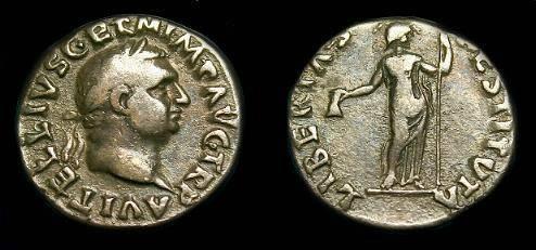 Ancient Coins - Vitellius.  Ar denarius.  69 AD.  Scarce coin.