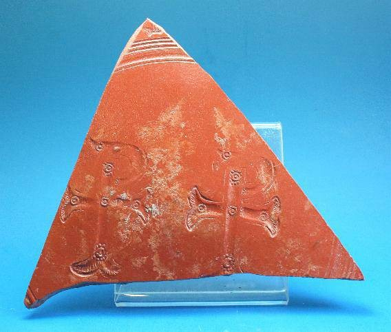 Ancient Coins - Roman large red ware sherd decorated with a double Christogram.  C. 4th-5th century AD.