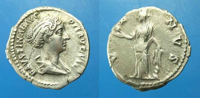Ancient Coins - Faustina Snr.  Ar denarius.  C.148-152 AD.  Nice style portrait.