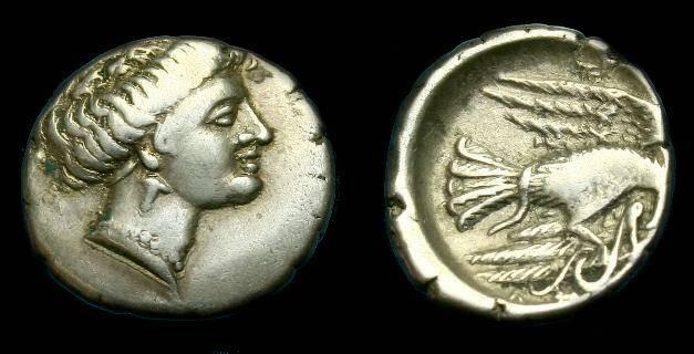 Ancient Coins - Euboea.  Chalkis.  Ar drachm.  338-308 BC.