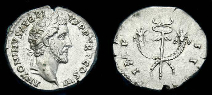 Ancient Coins - Antoninus Pius.  Ar denarius.  138-161 AD.  Super detail.