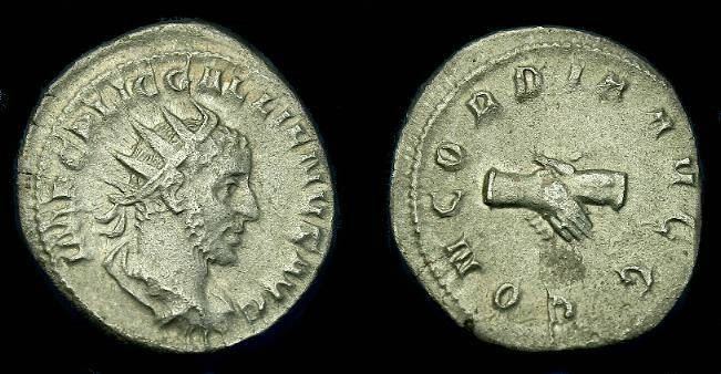Ancient Coins - Gallienus.  Ar ant.  253-255 AD.  Scarcer type.